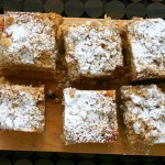 Crumb cake with icing sugar sprinkled on top